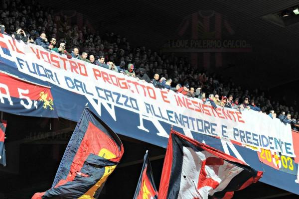Tifosi Genoa - Striscione Gasperini-Preziosi genoa palermo 4-0