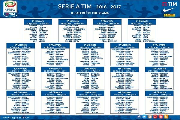 Serie A Calendario Completo.Serie A Ecco Il Calendario Completo Della Stagione 2016 17