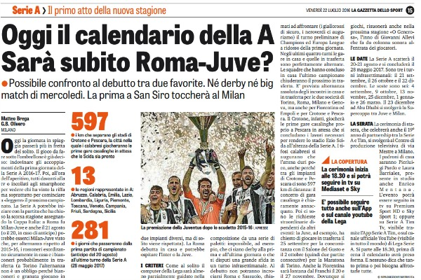 Gazzetta Calendario Serie A.Gazzetta Dello Sport Oggi Il Calendario Della A Sara