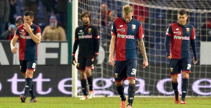 Genova, 18/12/2016 Serie A/Genoa-Palermo Gol Palermo (3-3): delusione Nicolas Andres Burdisso-Mattia Perin-Luca Rigoni-Ezequiel Matias Munoz