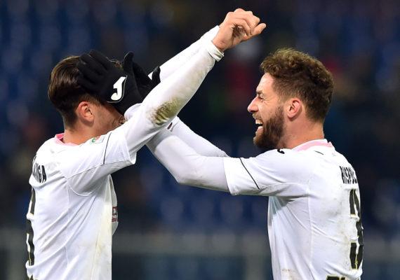 Genova, 18/12/2016 Serie A/Genoa-Palermo Edoardo Goldaniga-Andrea Rispoli - Esultanza finale