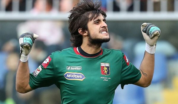 "Genoa's goalkeeper Mattia Perin celebrates after a goal for his team during the Italian Serie A football match Genoa Vs AC Milan on December 7, 2014 at ""Luigi Ferraris Stadium"" in Genoa.  AFP PHOTO / MARCO BERTORELLO        (Photo credit should read MARCO BERTORELLO/AFP/Getty Images)"