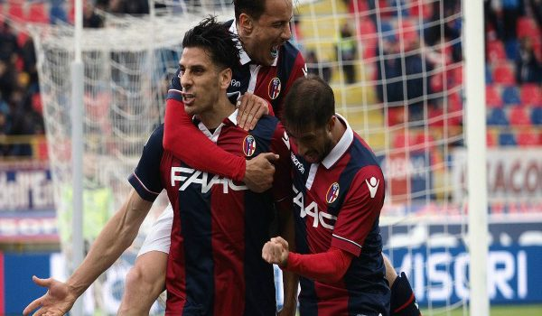during the Serie A match between Bologna FC and Genoa CFC at Stadio Renato Dall'Ara on April 24, 2016 in Bologna, Italy.