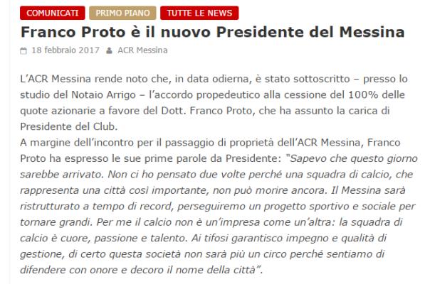 Acr Messina, è tutto per l'inizio dell'era Proto