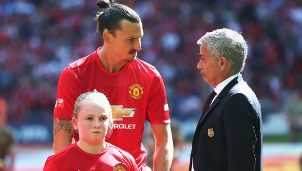 LONDON, ENGLAND - AUGUST 07: Zlatan Ibrahimovic of Manchester United talks to Manager of Manchester United, Jose Mourinho prior to kick off during The FA Community Shield match between Leicester City and Manchester United at Wembley Stadium on August 7, 2016 in London, England.  (Photo by Alex Morton - The FA/The FA via Getty Images)