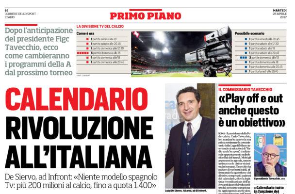 Corriere Dello Sport Calendario.Corriere Dello Sport Calendario Rivoluzione All Italiana