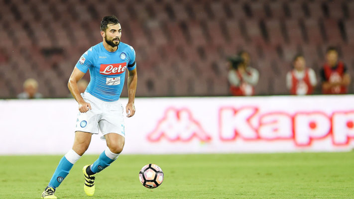 NAPLES ITALY- AUGUST 27 Raul Albiol of Napoli in action before the Serie A match between SSC Napoli and AC Milan at Stadio San Paolo