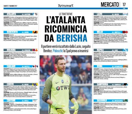 Calciomercato Lazio, l'Atalanta riscatta Berisha: i dettagli dell'affare