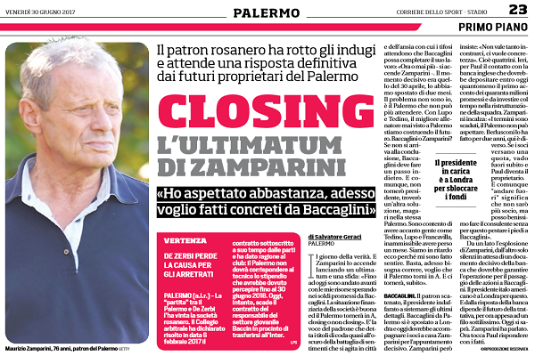 Closing Palermo, Zamparini: