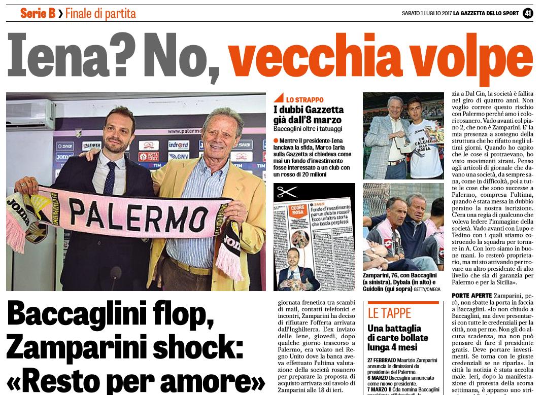"""2b56c4d0d1 Gazzetta dello Sport: """"Iena? No, vecchia volpe. Baccaglini flop, Zamparini"""