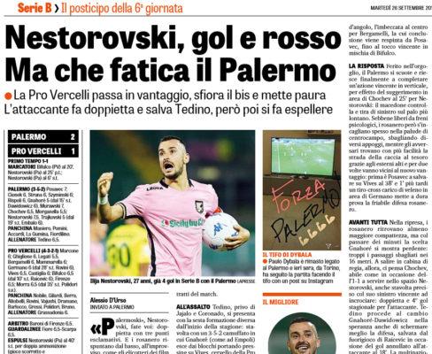 Serie B: Palermo-Pro Vercelli 2-1