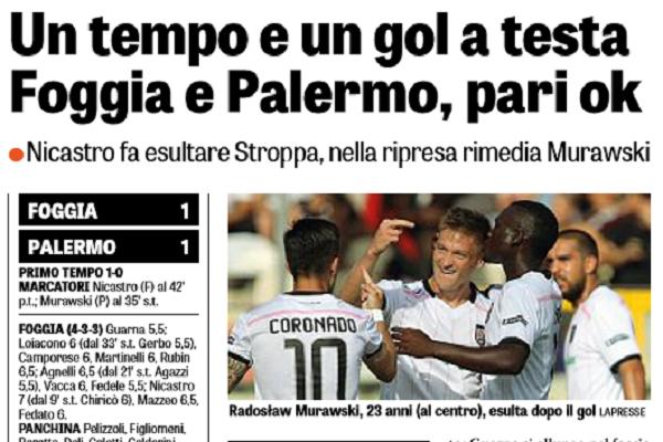 Il Foggia dura un tempo, 1-1 allo Zaccheria contro il Palermo