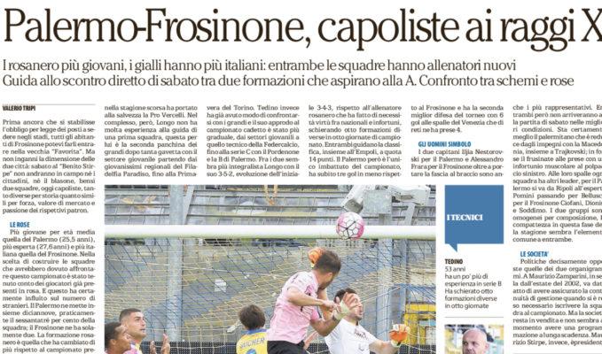 Serie B, buon pari del Palermo a Frosinone