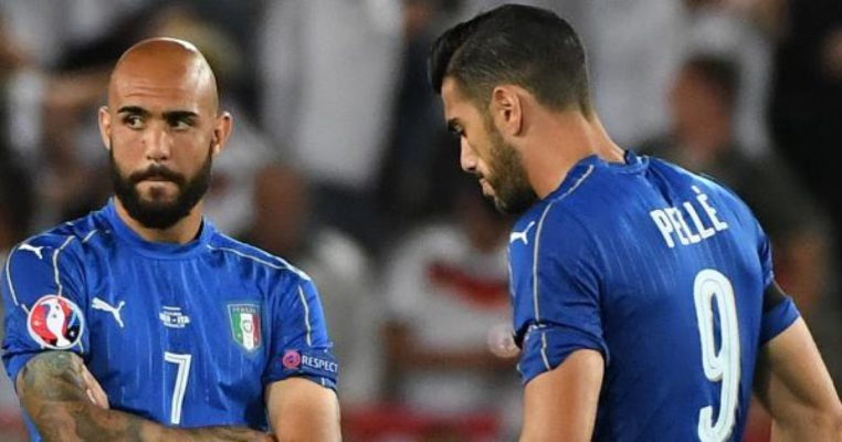 Italys Simone Zaza  (L) and his teammate Graziano Pelle show their dejection at the end of the UEFA EURO 2016 quater final between Germany and Italy at the Stade de Bordeaux in Bordeaux, France, 2 July 2016.Ansa/Daniel Dal Zennaro