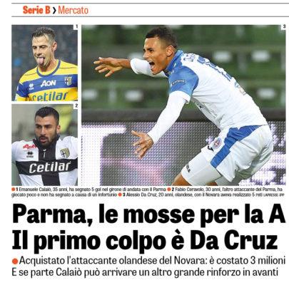 Il Parma acquista e Alessio Da Cruz dal Novara