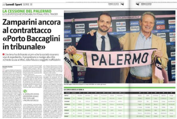 Palermo, Zamparini contro Baccaglini:
