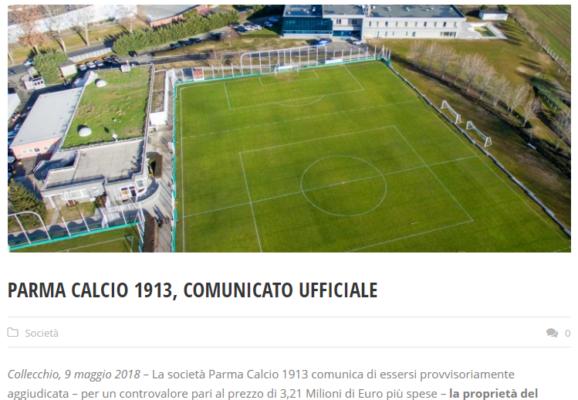 Parma, acquisito il Centro Sportivo di Collecchio: il comunicato