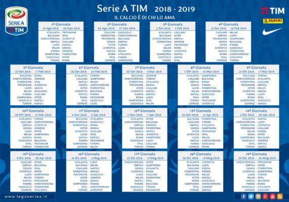 Calendario Serie B Spal.Calendario Serie A 2018 19 Tutte Le Giornate E Il