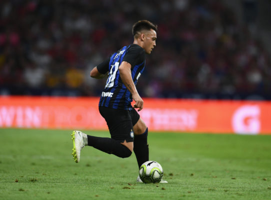 MADRID, SPAIN - AUGUST 11:  Lautaro Martínez in action during the International Champions Cup 2018 match between Atletico Madrid and FC Internazionale at Estadio Wanda Metropolitano on August 11, 2018 in Madrid, Spain.  (Photo by Claudio Villa - Inter/Inter via Getty Images)