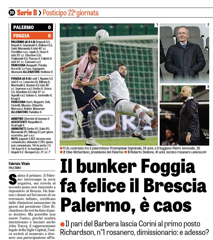 """Gazzetta dello Sport: """"Il bunker Foggia fa felice il Brescia. Palermo, è ..."""