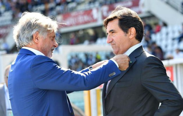 Torino's president Urbano Cairo and Sampdoria's president Massimo Ferrero during the Italian SERIE A soccer match between Torino and Sampdoria at Olimpic Stadium in Turin, Italy, 17 September 2017 ANSA/ALESSANDRO DI MARCO