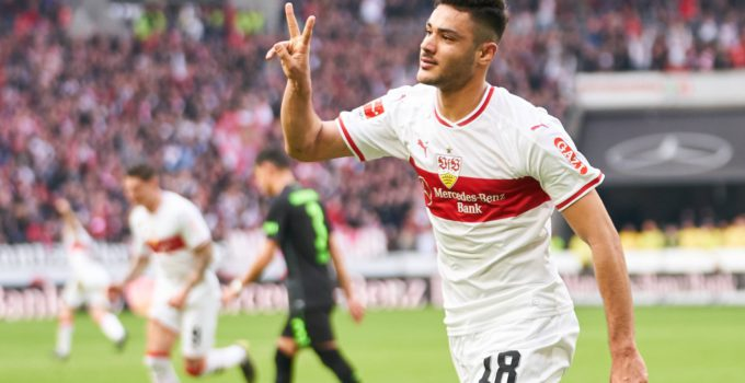 Ozan KABAK, VFB 18 shoot goal for 2-0 Cheering, joy, emotions, celebrating, laughing, cheering, rejoice, tearing up the arms, clenching the fist, celebrate, celebration, VFB STUTTGART - HANNOVER 96 5-1 - DFL REGULATIONS PROHIBIT ANY USE OF PHOTOGRAPHS as IMAGE SEQUENCES and/or QUASI-VIDEO - DFL 1.German Soccer League , Stuttgart, March 3, 2019, Season 2018/2019, matchday 24, H96 Photographer: Peter Schatz