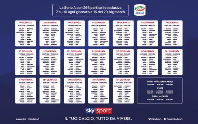 Nuovo Calendario Serie A.Calendario Serie A 2019 2020 Tutte Le Partite Del Nuovo