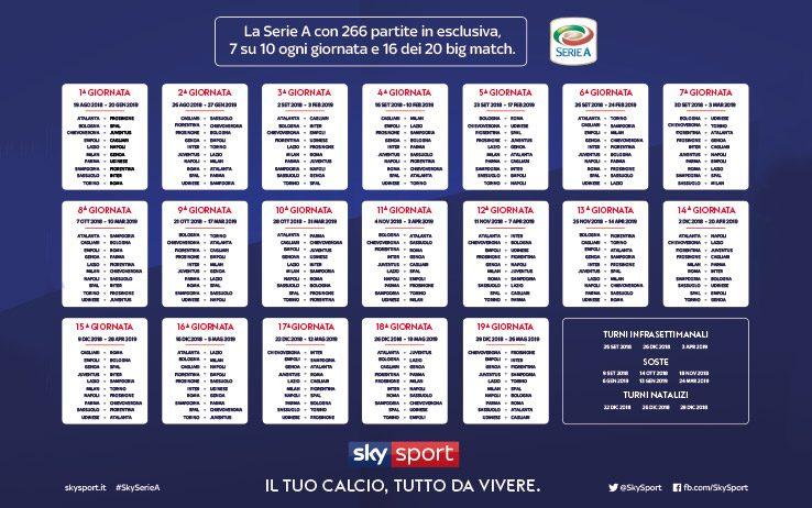Calendario Serie A 2019/2020: tutte le partite del nuovo
