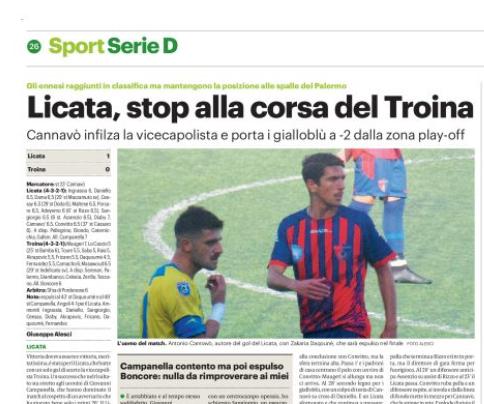"""Gds: """"Licata, stop alla corsa del Troina"""" - ilovepalermocalcio.com - Il Sito dei Tifosi Rosanero"""