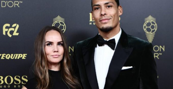Liverpool's Dutch defender Virgil van Dijk and his wife Rike Nooitgedagt (L) arrive to attend the Ballon d'Or France Football 2019 ceremony at the Chatelet Theatre in Paris on December 2, 2019. (Photo by Anne-Christine POUJOULAT / AFP)