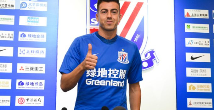 SHANGHAI, CHINA - JULY 09: Shanghai Shenhua's new signing Stephan El Shaarawy poses for a photo with his jersey during the presentation on July 9, 2019 in Shanghai, China. (Photo by VCG/VCG via Getty Images
