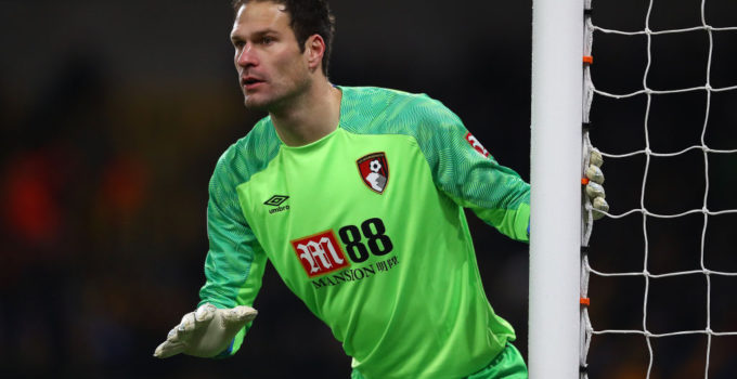 WOLVERHAMPTON, ENGLAND - DECEMBER 15:  Asmir Begovic of Bournemouth during the Premier League match between Wolverhampton Wanderers and AFC Bournemouth at Molineux on December 15, 2018 in Wolverhampton, United Kingdom. (Photo by Michael Steele/Getty Images)
