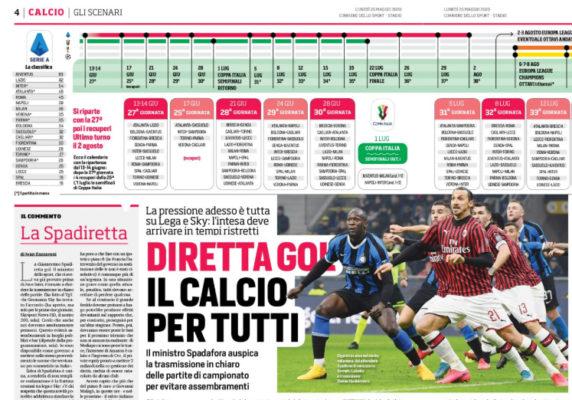 Corriere Dello Sport Diretta Gol Serie A In Chiaro Dove Si Vedra In Tv Ilovepalermocalcio