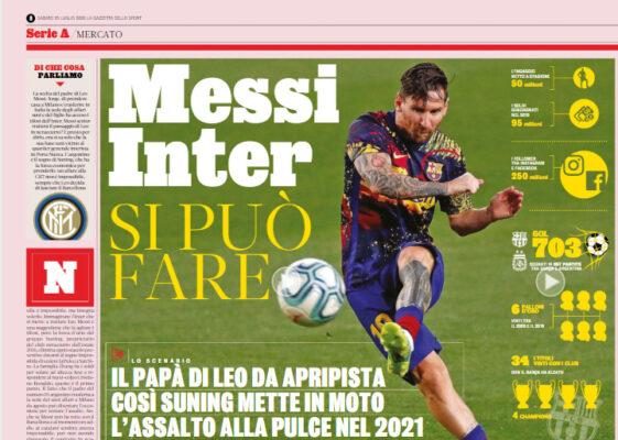Gazzetta Dello Sport Messi Inter Si Puo Fare Ilovepalermocalcio